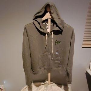 NWT Victoria Secret PINK olive green hoodie sz lrg